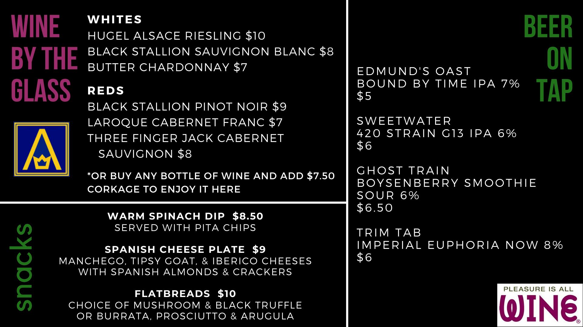 bar menu for November 2019